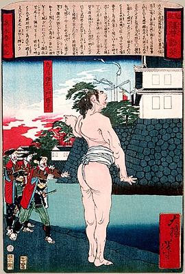 Тории Сунъэмон перед воротами замка Нагасино 1575. Гравюра Ёситоси Цукиоки, 1897 г.jpg