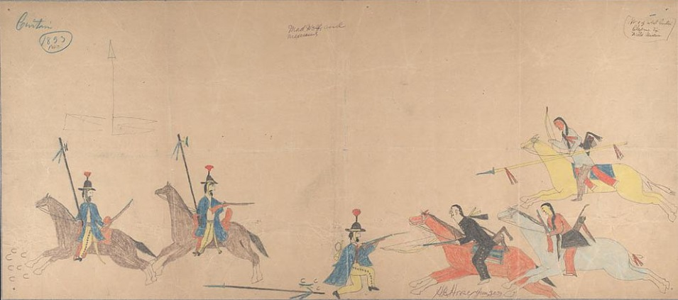 Ledger_Drawing_-_Cheyenne_warriors_fight