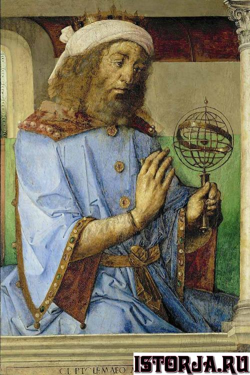 Ptolemy_1476_with_armillary_sphere_model